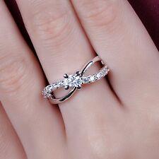 fashion Women Cross jewelry 925 silver Sapphire Luxry Wedding Band Ring size 8