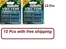 12 pcs -Gillette Vector Cartridges Blades Fits Contour Atra Plus Refills F,ship
