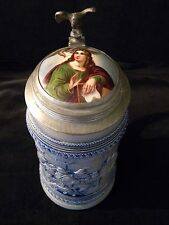 vintage salt glaze 1L beer stein with porcelain medallion inlay pewter eagle lid