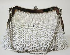 EMMA HOPE Ladies White 1920's Flapper Style Beaded Miniature Evening Bag