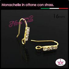 2 Monachelle in OTTONE con strass colore oro, ganci orecchini minuteria bijoux