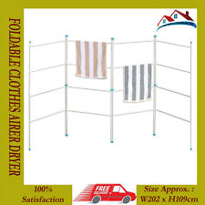 NEW 4 FOLD FOLDING GATE CLOTHES AIRER HORSE DRYER 16 RAIL INDOOR OUTDOOR LAUNDRY