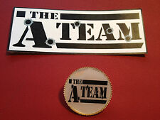 THE A TEAM LEATHER GOLD PLATED BADGE & STICKER SET