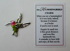 p2 1x Hummingbird POCKET TOKEN CHARM lucky healer have faith enjoy life ganz