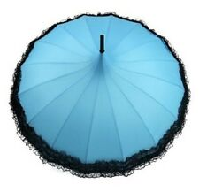 Ladies 'Kay' Pagoda  Walking Umbrella - Turquoise with Black Lace Trim