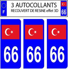 3 sticker plaque immatriculation auto DOMING 3D RESINE DRAPEAU TURQUE TURQUIE 66