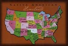Native American Homelands in the United States, Indian Tribes State Map Postcard