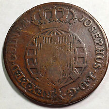 1770 PORTUGAL ANGOLA ONE MACUTA HUGE COPPER CROWN WITH COUNTERSTAMP RARE