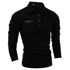 Mens Stylish Slim Fit Casual Fashion T-shirts Polo Shirt Long Sleeve Black 2XL