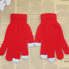 Men Women KNIT Gloves Soft Winter Touch Screen Texting Cap Active Phone Red E11
