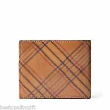 NEW-FOSSIL AMES BIFOLD CAMEL LEATHER +CLEAR ID POCKET MENS WALLET