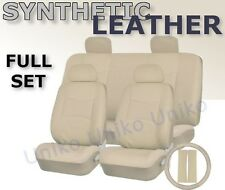 SOLID CREAM PU Low Back Synthetic Leather Seat Covers Steering Wheel Set CS