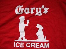 Gary's Ice Cream Logo Sweets Ice Cream Treats Restaurant Red T Shirt Size L