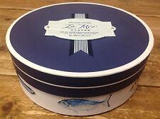 Williams Sonoma La Mer Fish Lacaze NEW Sea Beach Empty Dinner Plate Hat Box Blue