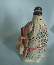 Mid Century Finely Carved CHINESE FIGURE of man Hand painting Faux Bone