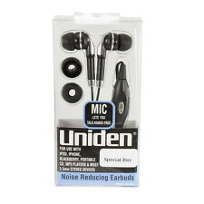 UNIDEN EARBUDS STEREO HEADPHONE w/INLINE REMOTE + MIC IPHONE IPOD BLACKBERRY MP3