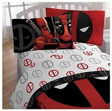 Marvel Deadpool Bedding 4 Piece Full Size Boys Children Bedroom Bed Sheet Set