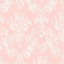 White on Pink Victorian Damask GC29824 Wallpaper Double Roll