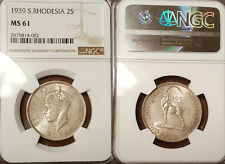 South Rhodesia 1939 2 Shilling Rare Key Date, NGC 61,Highest Graded, NGC/PCGS