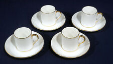 4 Tiffany + Co. Crown Staffordshire China Demitasse Cup + Saucer Sets Gold Trim