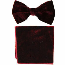 New in box formal men's pre tied Bow tie & Pocket Square Hankie Velvet Burgundy