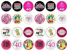 fortieth 40th happy birthday lady mum  fairy cupcake toppers party edible x24