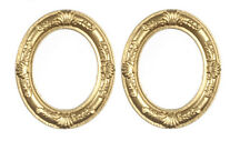 Pair Of Oval Golden Frames, Doll House Miniatures, Wall Dec-or, Picture Frames