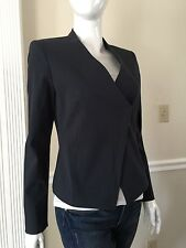 NWT THEORY WOMEN Sz4 LANISO ZIP STRETCH-JACKET IN FROSTERED UNIFORM $257.