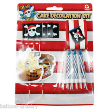 19 Piece Pirate Party Red Stripe Disposable Birthday Cake Decoration Kit