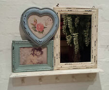 Vintage Chic Mirror Photo Frame with Mini Shelf & hook Shabby Panel Bedroom Hall