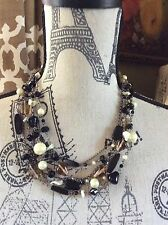 FABULOUS LIA SOPHIA MULTI GUN METAL CHAIN FAUX PEARL, SMOKY GLASS BEADS NECKLACE