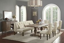 ACME Inverness reclaimed oak finish white dining set with 1 bench and 5 chairs