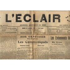 L'ÉCLAIR 16-11-1915 Foot QUISSAC-CANAULES 8 à 0 SUMÈNE et  Arrestation à BEAUCAI