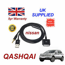 For Nissan Qashqa Audio System iPhone 3GS 4 4S iPod USB & Aux Cable black