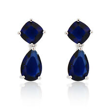 Blue Sapphire Drop/Dangle CZ Wedding Earrings Women's White Gold Filled Jewelry