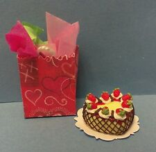 Dollhouse miniature 1:12 Heart Berry Custard Cake by Bright deLights & gift bag