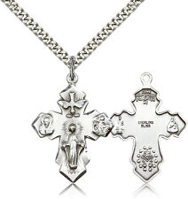 """.925 Sterling Silver Four Way Cross Necklace For Men On 24"""" Chain - 30 Day Mo..."""
