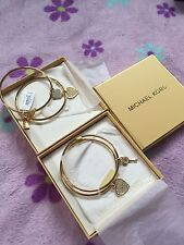 NWT Michael Kors Charm Bracelet Heart&Key or 2 Hearts Bangle Set GOLD