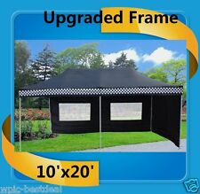 10'x20' Pop Up Canopy Party Tent EZ - Black Checker - F Model Upgraded Frame