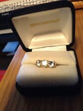 WHITE ZIRCON 4.50CTW - 10K YELLOW GOLD 3-STONE PAST/PRESENT/FUTURE RING - SIZE 8
