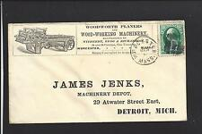 WORCESTER, MASSACHUSETTS COVER,VF,1870, BANKNOTE ,ADVT. WOOD-WORKING MACHINERY.