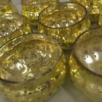 Neu Set 6 GOLD Mercury Glas Kürbis Teelicht Halter Weihnachten Hochzeiten