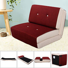 Fold Down Chair Flip Out Lounger Convertible Sleeper Bed Couch Dorm Burgundy
