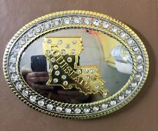 """State of Louisiana Belt Buckle, oval 4.5""""x 3.5"""", Two Tone Good Quality"""