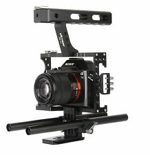 DSLR 15mm Rod Rig Camera Video Cage Kit+Top Handle Grip for Sony A7 II A6300 GH4