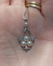 Mikimoto Japanese Akoya Four Pearl Pendant w/Chain & Box - Saltwater Pearls