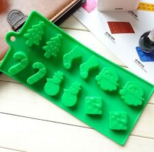 12 Christmas Silicone Mould Santa Snowman Jelly Baking Chocolate Ice Cube Tray