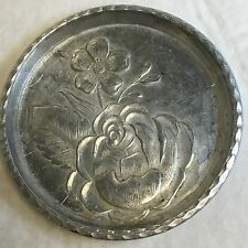 Vintage Hand Forged Everlast Metal Hammered Aluminum Floral Candy/Nut Dish