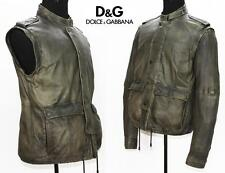 NEW DOLCE & GABBANA 2 in 1 SOFT LEATHER JACKET WITH DETACHABLE SLEEVES 50 - 40