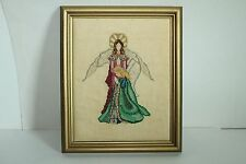 Beautiful Framed Vintage Cross Stitch- Angel With Praying Girl- 8X10